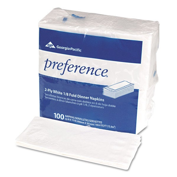 preference 1/8 Fold Dinner Napkins/ 15 x 16/ White (Pack of 100)
