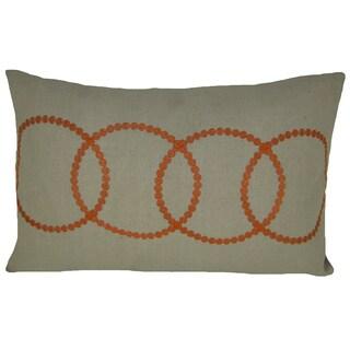 Bindi Orange Feather Filled Embroidered Circle 14x20 Decorative Pillow