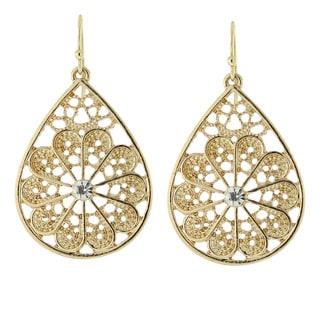 1928 Jewelry Filigree Teardrop Earrings