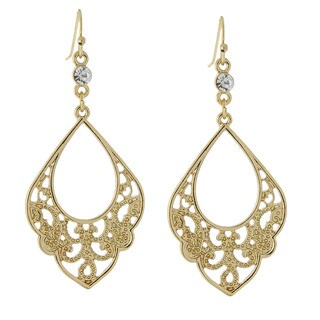 1928 Jewelry Goldtone Crystal Filigree Drop Earrings