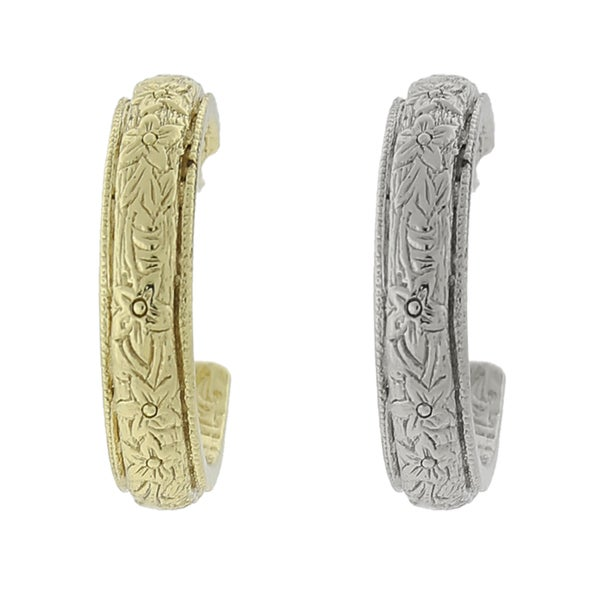 1928 Jewelry Etched Hoop Earrings