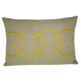 Bindi Yellow Feather Filled Embroidered Circles 14x20 Decorative Pillow