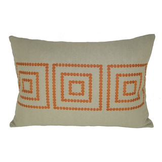 Bindi Orange Feather Filled Embroidered Square Decorative Pillow