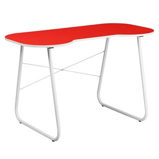 Offex Red Computer Desk with White Frame