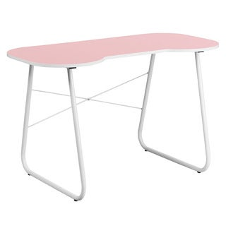 Offex Pink Computer Desk with White Frame