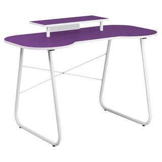 Offex Purple Computer Desk with Monitor Stand and White Frame