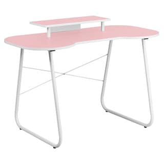 Offex Pink Computer Desk with Monitor Stand and White Frame