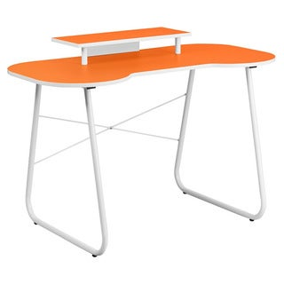 Offex Orange Computer Desk with Monitor Stand and White Frame