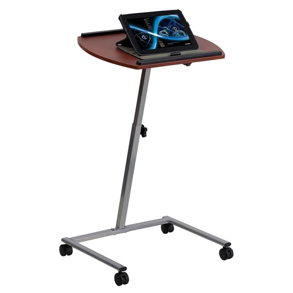 and Height Adjustable Mobile Laptop Computer Table with Mahogany Top