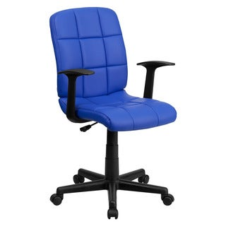 Offex Mid-Back Blue Quilted Vinyl Task Chair with Nylon arms