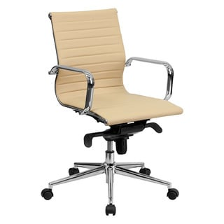 Offex Mid-Back Tan Ribbed Upholstered Leather Conference Chair