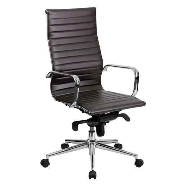 Offex High Back Brown Ribbed Upholstered Leather Executive Office Chair 14320239