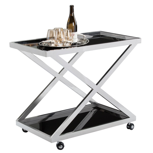 Sunpan Rex Stainless Steel and Glass Trolley