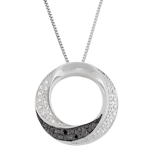 Sterling Silver 1/4ct TDW Black and White Diamond Circle Pendant (I-J, I1-I2)