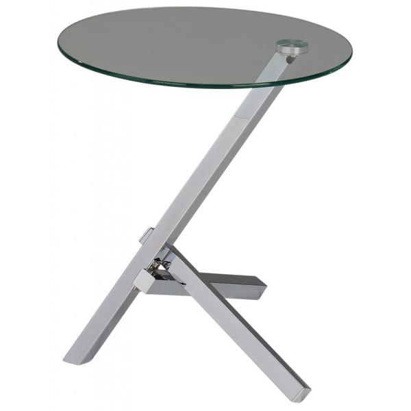 Kayla Chrome and Clear Glass Accent Table