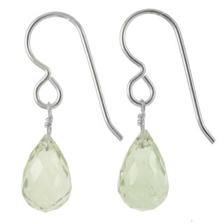 Ashanti Sterling Silver Mint Green Quartz Gemstone Handmade Earrings (Sri Lanka)