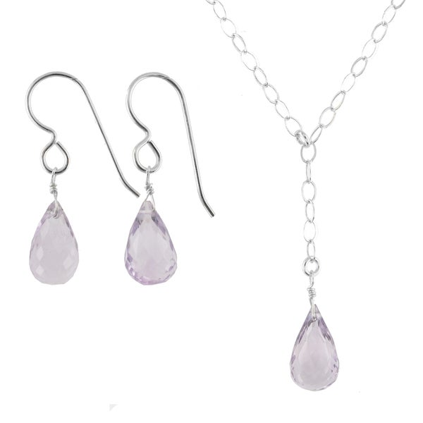 Ashanti Sterling Silver Pink Amethyst Gemstone Handmade Earrings and Necklace Set (Sri Lanka)
