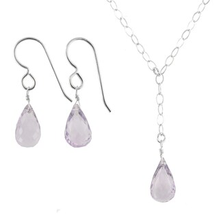 Ashanti Sterling Silver Pink Amethyst Gemstone Handmade Earrings and Necklace Set (Sri Lanka)