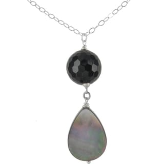 Ashanti Sterling Silver Mother of Pearl and Onyx Gemstone Handmade Necklace (Sri Lanka)