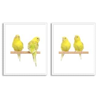 Jagodka's 'Yellow Budgie Birds' Diptych Art