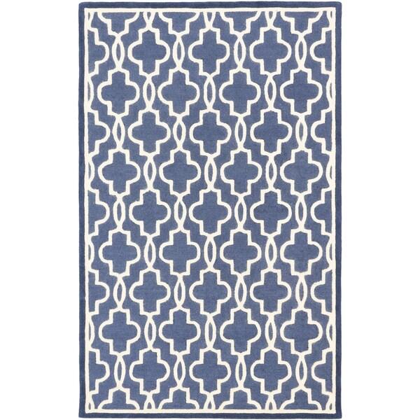 Hand-tufted Trellis Cream/ Dark Night Blue Open Field Wool Rug (5' x 8')