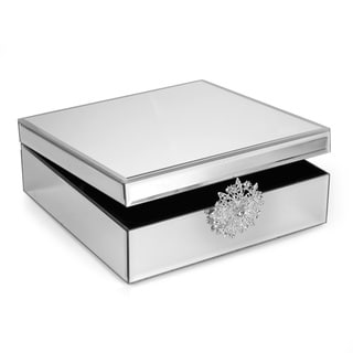 Silvertone Mirror Jewelry Box