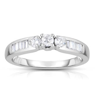 14k White Gold 1/2ct TDW 3-Stone Round Diamond Engagement Ring (H-I, I2-I3)