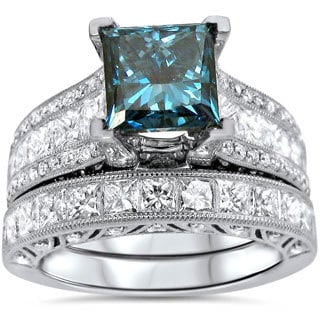 18k White Gold 4 1/4ct TDW Blue Princess-cut Diamond Engagement Ring Bridal Set (F-G, SI1-SI2)