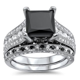 Noori 18k White Gold 4ct Tdw Black and White Diamond Engagement Ring Set