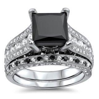 18k White Gold 4ct Tdw Black and White Diamond Engagement Ring Set