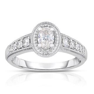 14k White Gold 3/4ct TDW Oval Cut Diamond Ring with Milgrain Detail (H-I, I1-I2)