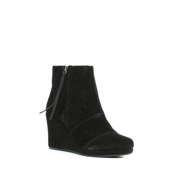 Toms Women's Black Suede Desert High Wedge