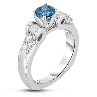 14k White Gold 1 1/4ct TDW Blue Diamond Engagement Ring (Blue, I1-I2)