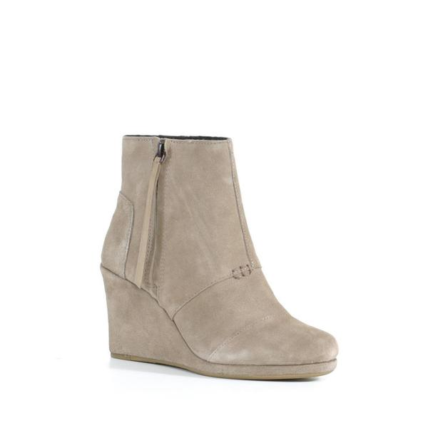 Toms Women's Taupe Suede Desert Wedge High
