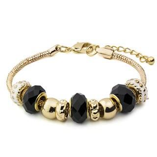 Goldtone Black Faceted Glass Bead Bracelet
