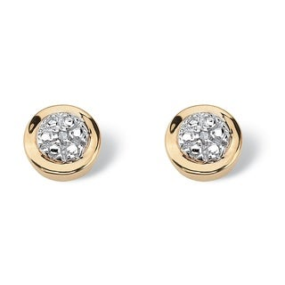 PalmBeach Round Diamond Accented Cluster Earrings in 10k Gold