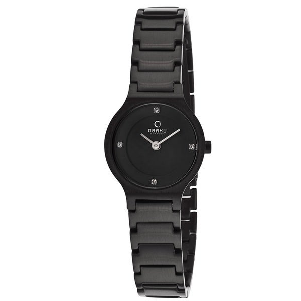 Obaku Women's V133SBBSB 'Harmony' Black Stainless Steel Watch