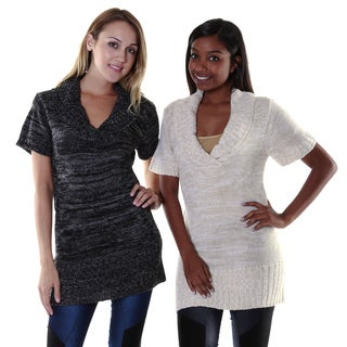 Hadari Women's Folded Collar Tunic Dress (Set of 2)