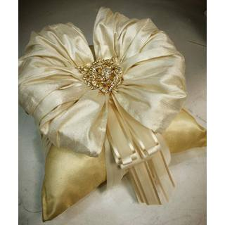 Gold/ Ivory Silk Ring Pillow