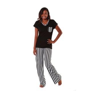 Hadari Women's Black and White Striped Pajama Set