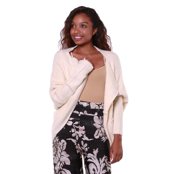 Hadari Women's White Soft-knit Cardigan