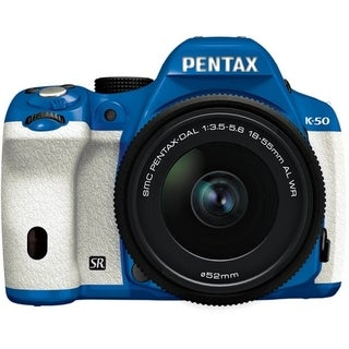 Pentax K-50 16.3MP Blue/ White Digital SLR Camera with 18-55mm f/3.5-5.6 Lens