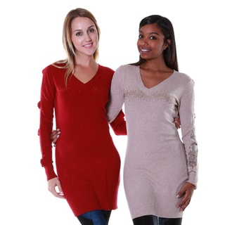 Hadari Women's Bow and Lace Shoulder Tunic (Set of 2)