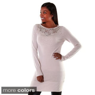 Hadari Women's Lace and Rhinestone Neck Tunic