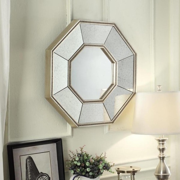 Inspire q faceted beveled beaded trim octagon accent wall for Octagon beveled mirror