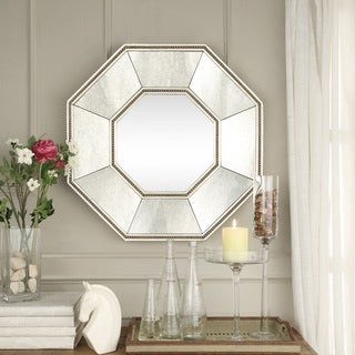 INSPIRE Q Faceted Beveled Beaded Trim Octagon Accent Wall Mirror
