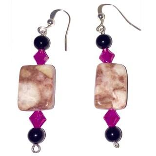 Diamonds by Sonja Stunning Handmade Red Line Marble Earrings