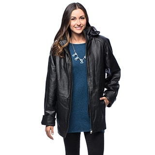 Wilda Women's 'Vickie' Black Leatherette Parka