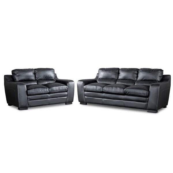Baxton Studio Diplomat 2-piece Black Upholstered Modern Sofa Set