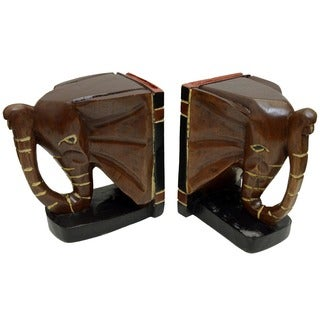 Hand-crafted Wood Elephant Bookends (Ghana)
